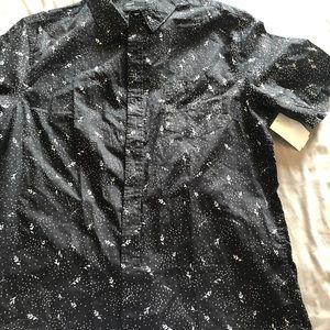 Men's Black White Button Up Down Shirt